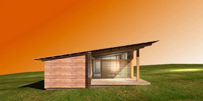 Maison bois bioclimatique basse nergie chalas for Maison bois bioclimatique