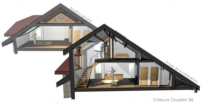 Sur l vation d 39 app t ros01 annecy le vieux for Architecte 3d combles