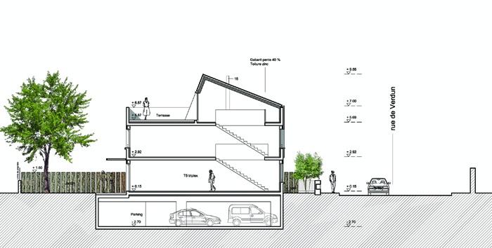 5 maisons de ville : coupeAA