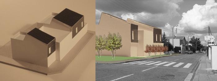 5 maisons de ville : maquette