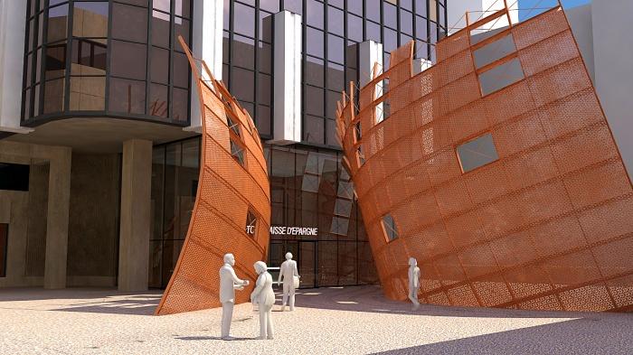 Sculpture monumentale Parvis Tour Siège Caisse d'Epargne