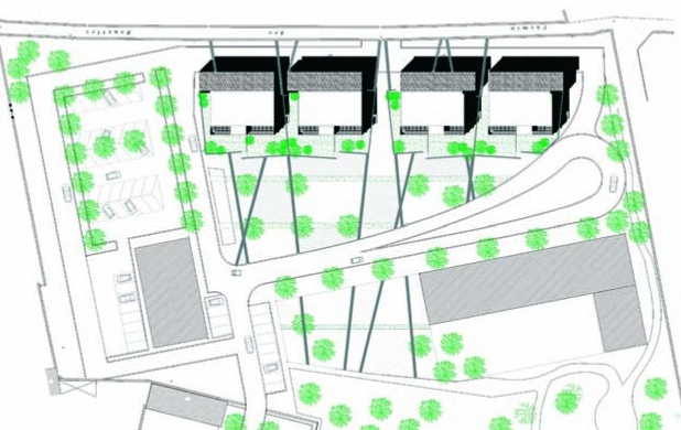 64 logements HQE : Plan de masse .