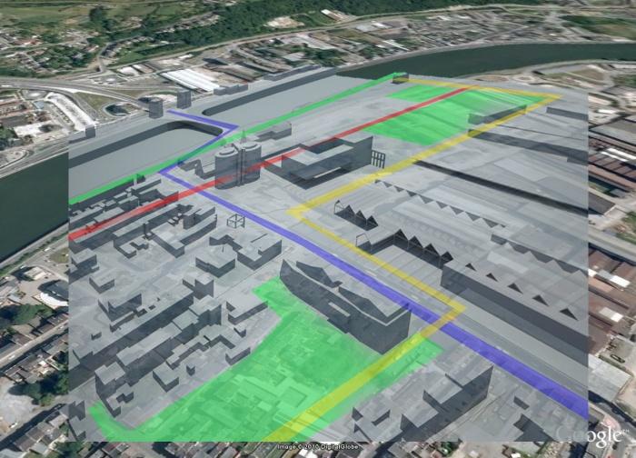 Restructuration d'un centre-ville : Vue aerienne