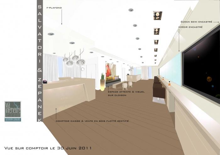 Coneption d'un Salon de coiffure : Concept vue 3D