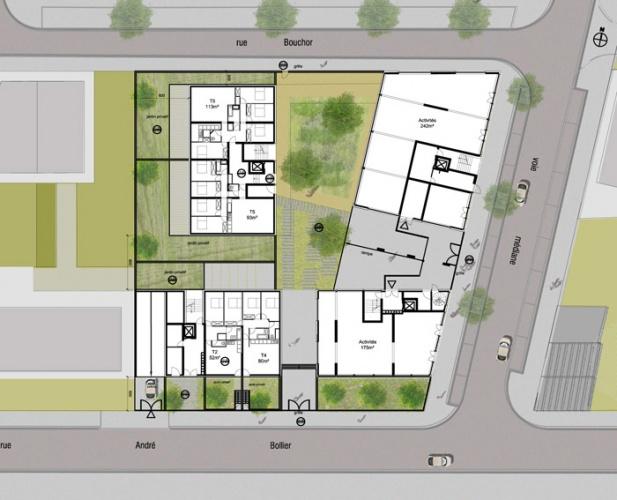 Concours-construction de 50 logements et commerces : rdc