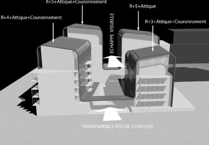 Concours-construction de 50 logements et commerces : axo1