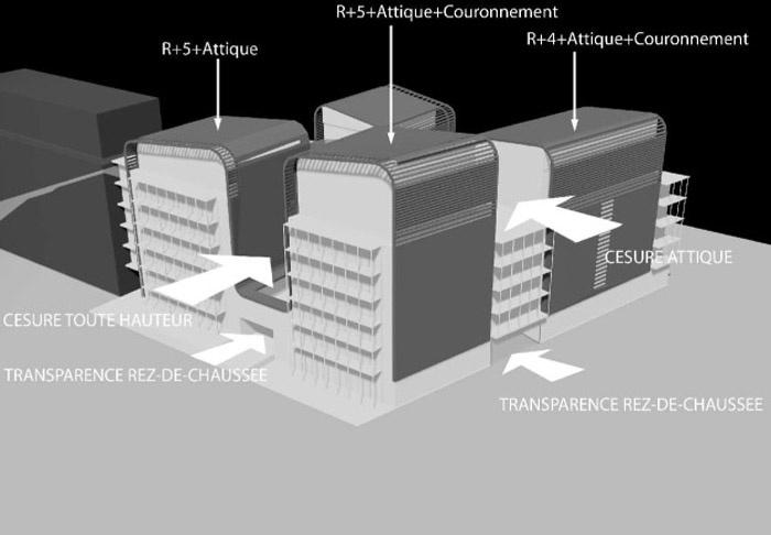 Concours-construction de 50 logements et commerces : axo2