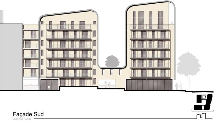Concours-construction de 50 logements et commerces : fa S2