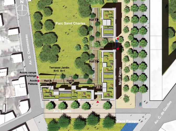 Concours-construction de 90 logements et commerces : plan masse