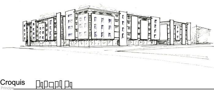 Concours-construction de 90 logements et commerces : croq