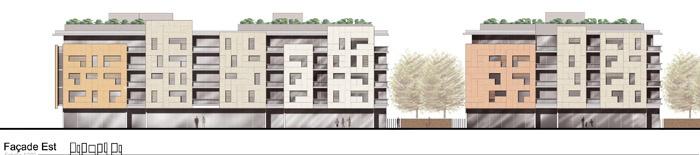 Concours-construction de 90 logements et commerces : fa E
