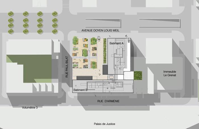 Réalisation d'un immeuble de bureaux : plan masse