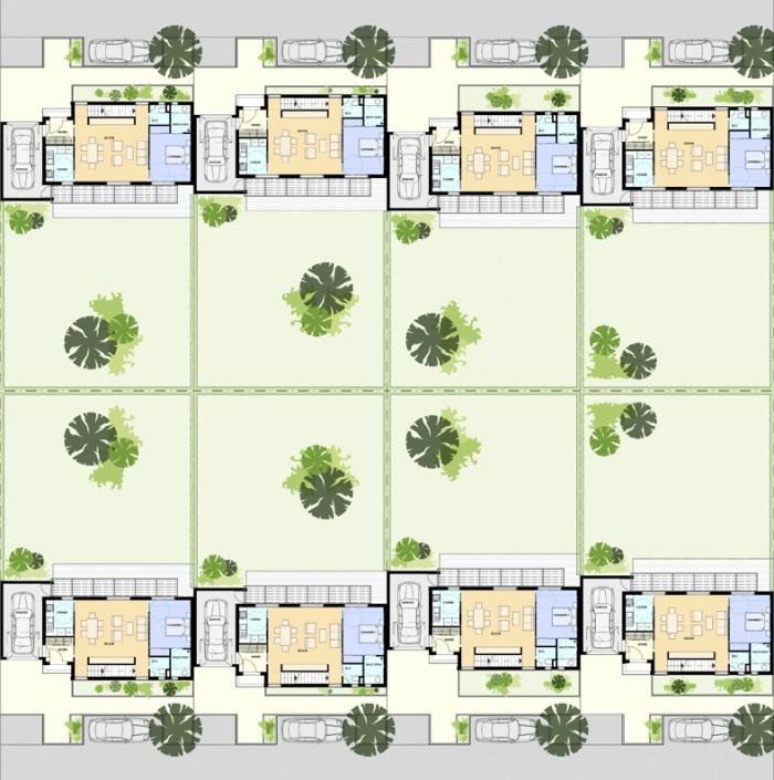 Construction de 8 maisons individuelles group es r gion - Plan de masse maison individuelle ...