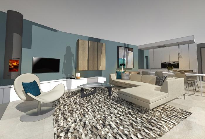 Maison contemporaine sur terrain en pente saint didier for Amenagement interieur contemporain