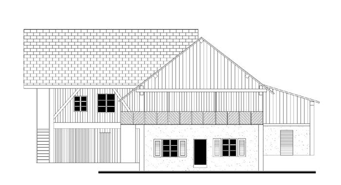 façade de la ferme côté bardage et pignon