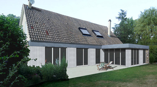 Extension de maison toiture terrasse lot ma onnerie bien for Toiture extension maison