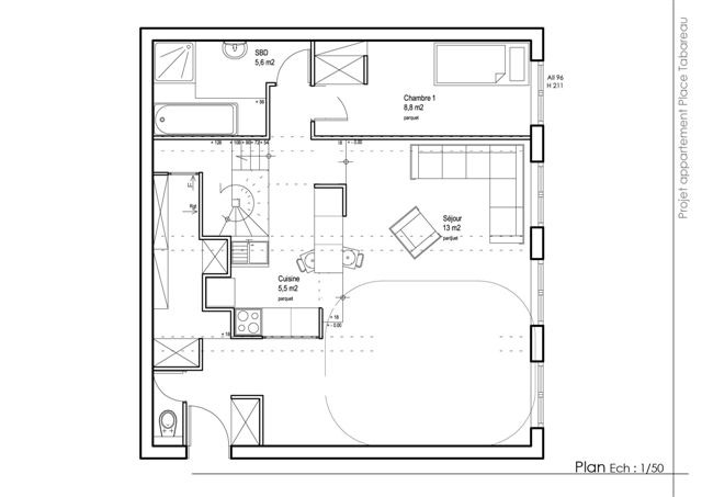 plan appartement carre